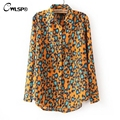 2016 Spring Autumn Leopard Print Women Blouse & Shirts turn down collar Long Sleeve Blusa Femininas Blusa De Renda Q238