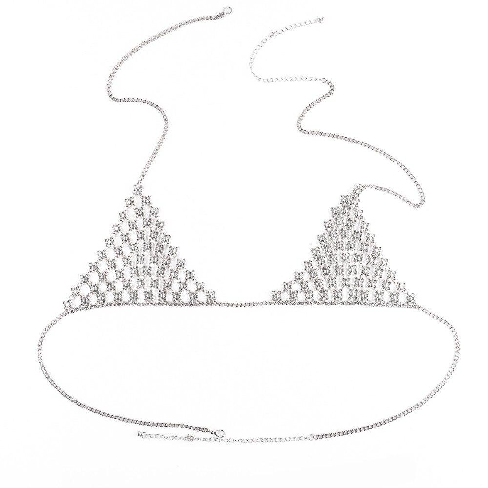 Women Harness Top Bikini Bra Chain Flower Lingerie Accessories Body Chain 4L3008 3