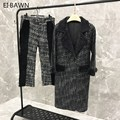 2019 women two piece set top and pants for women shearling coat genuine leather jacket women wool pants Woolen stitching coat