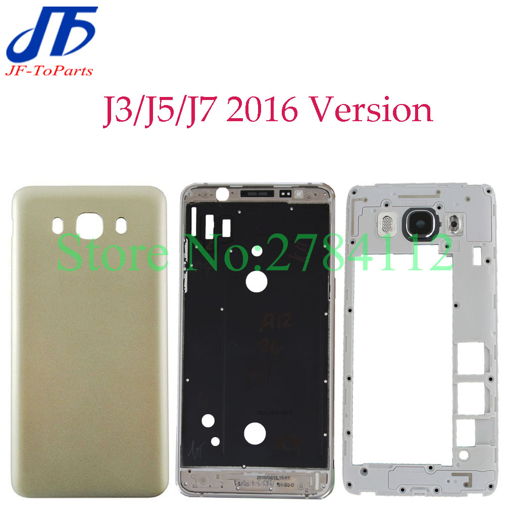 10Pcs Full Housing For Samsung j3 / J5 j510/ J7 2016 Front Mid Frame Plate Bezel Battery Back Cover Door Case With Side Buttons