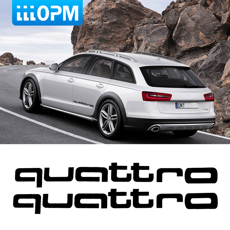 2x Quattro Logo Car Styling Car Body Sticker Vinyl Decal Car Sticker For Audi A5 A6 Q5 A4 B8 A3 Q7 A7 A8 Q3 Quattro A4 B6