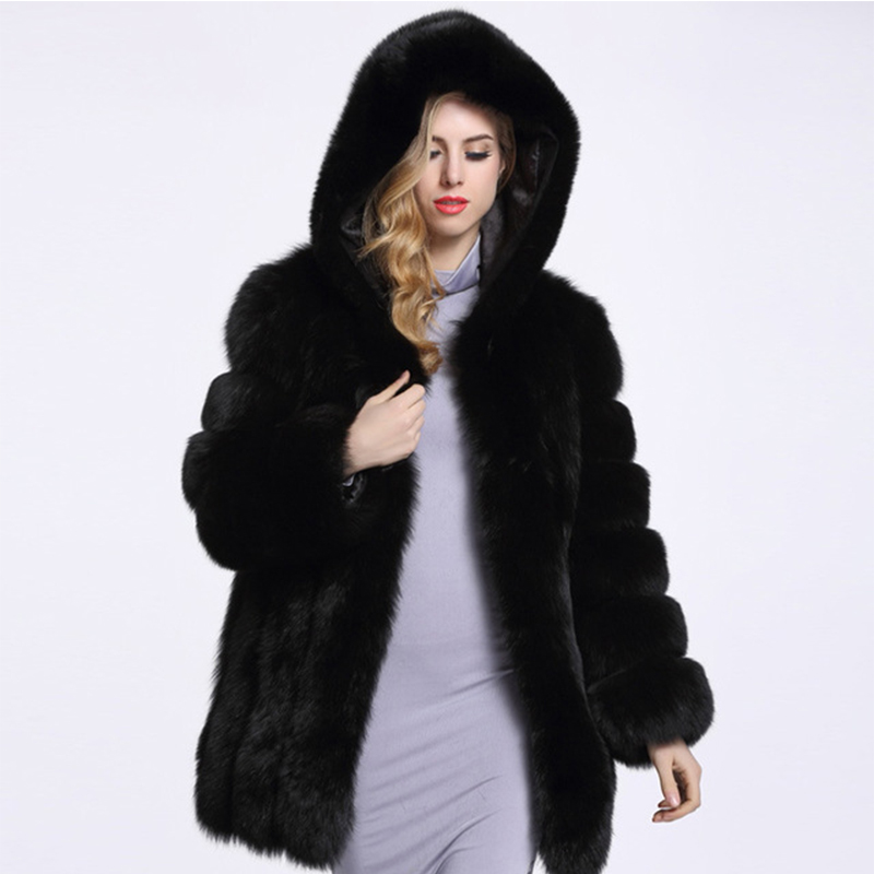 2018 Winter Thick Warm Coat Fur Coat Hooded Faux Fur Coat Wanita Tinggi Tiruan Fox Fur Coat Long Coat 4XL PC253