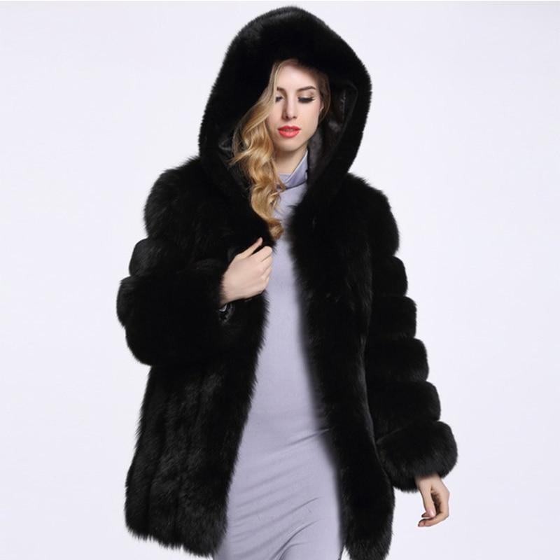 2018 Musim Dingin Tebal Hangat wanita Buatan Bulu Mantel Berkerudung Mantel Bulu Imitasi Perempuan Imitasi Bulu Rubah Jaket Panjang Mantel 4XL PC253