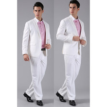 Custom Made New Men Suits Slim Custom Fit Tuxedo Brand Fashion Bridegroom Business Dress Wedding Suits White (Jackets+Pants)