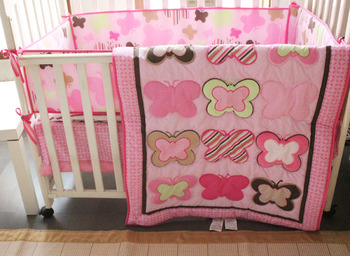 Discount! 4pcs embroidery Baby Bedding Set Nursery Bedding Cot Ropa de Cama ,include(bumper+duvet+bed cover+bed skirt)