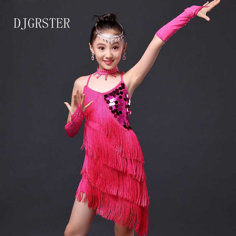 DJGRSTER Latin Dance Dresses For Girls Samba Dress Ballroom Kids Dancing Dress Girl Dancewear Ballet Vestido