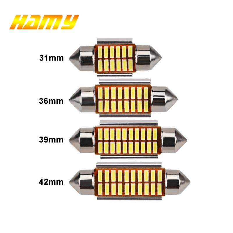 1x C10W C5W LED Canbus Festoon 31mm 36mm 39mm 42mm For Car Bulb Interior Reading Light License Plate Lamp White 5000K Free Error