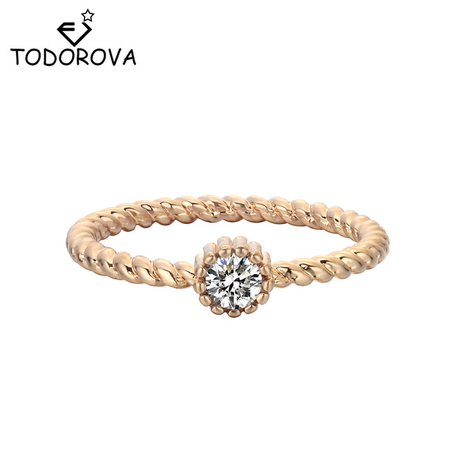 Todorova Gold Color Round Single Stone Wedding Rings For Women Twist