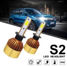 2 шт. 72 Вт 8000LM 6000 К белый светодио дный фар автомобиля лампа высокий или низкий пучок Глава Лампа H1 9006 HB4 9005 HB3 H10 H11 S2 H7 H4 HB2