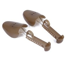 Hot-1 Pair of Adjustable Plastic Shoe Trees for Men UK Size 6-13—Brown