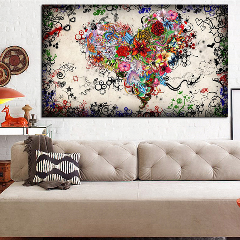 HD Print Multiple Flower Combined into Heart Love Art Abstract Oil - Decoración del hogar