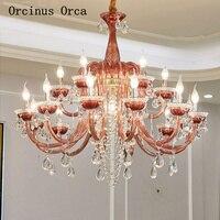 Candelabro de cristal rojo romántico europeo sala de estar comedor francés de lujo LED de cristal de colores