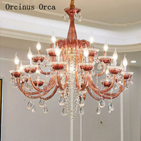 European Romantic Red Crystal Chandelier Living Room Dining Room French Luxury LED Colored Crystal Glass Chandelier