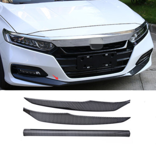 3pcs Carbon Fiber Style Car Front Bumper Front Lip Cover Trim Fit For Honda Accord 2018 Car Exterior Accessories Styling 3pcs car steering wheel button switch panel cover trim decoration carbon fiber for honda civic 2016 2017 car styling accessories
