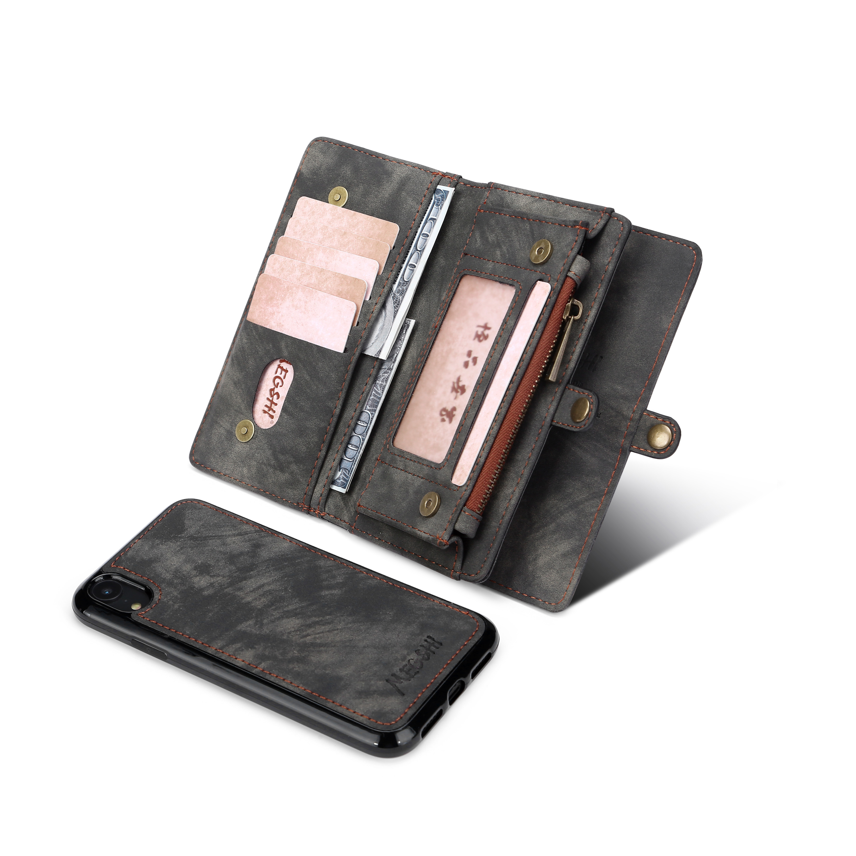Business Wallet  Multifunctional Zipper Case Detachable Magnetic Back Cover Luxury Leather For HUAWEI P30