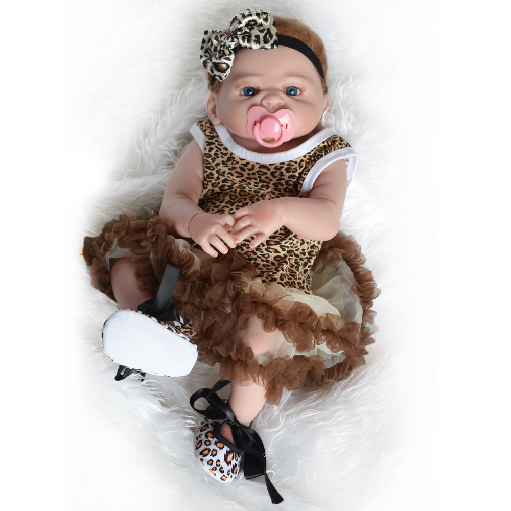 50-55CM Full Body Silicone Reborn Baby Doll Lifelike Babies Soft Full Vinyl Baby Fashion Dolls Reborn Doll Toys for Children ucanaan reborn baby dolls realistic soft cloth body handmade lifelike reborn babies doll toys baby sleeping partners 50 55cm