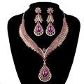 Índia estilo conjuntos De jóias de Cristal da Festa de casamento Nupcial colar brincos de Strass rosa cor delicada jóias para Mulheres presente