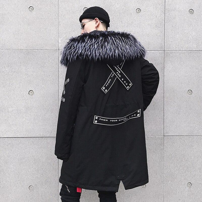Veste Solide Moyen Hip D'hiver Parkas De Noir Hommes Mode Ffxzsj2018new Épais Casual À army Hop Hiver Vestes Chaud Manteaux Capuche long Green ARj354L