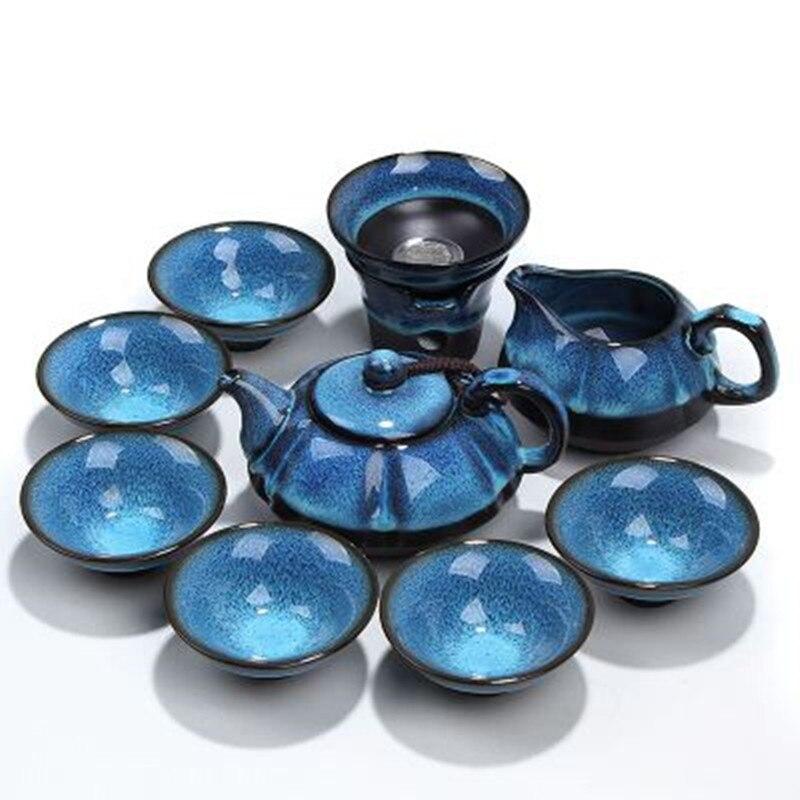 [1 théière + 1 filtre + 1 tasse équitable + 6 tasses] authentique 9 pièces KungFu thé Set bleu ambre glaçure Zisha céramique/porcelaine thé cérémonie cadeau