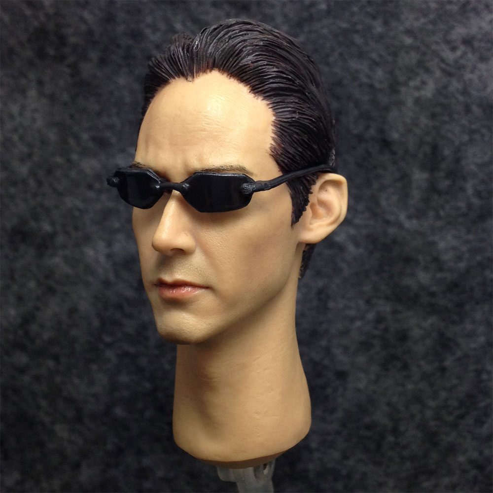 3c6f55c4a5 1 6 Head Sculpt Kumik Keanu Reeves Matrix Neo For Hot Toys Body with glasses-in  Action   Toy Figures from Toys   Hobbies on Aliexpress.com