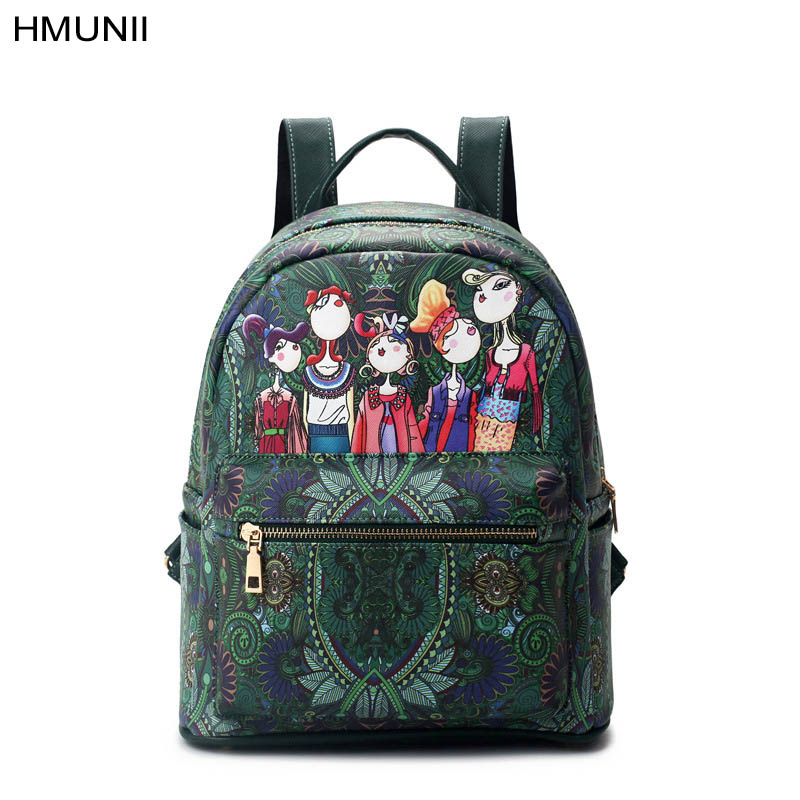 2017 female fashion backpack style green forest cartoon image printing woman student shoulder bag leather backpack