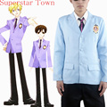 Ouran High School Host Club Boy Chaqueta del Uniforme Escolar Azul Chaqueta de Anime Cosplay Traje de Halloween