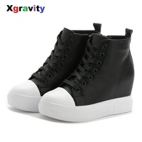 Hot Sales 2019 New Heel Increasing Lady Fashion Ankle Wedge Boots PU High Quality Women Warm Shoes Autumn Wedges Boots C101