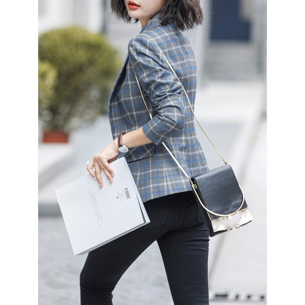Frauen Herbst Winter Arbeit Büro Plaid Blazer Kerb Eleganz Mode Taschen Voller Hülse Einzigen Taste Slim Blazer