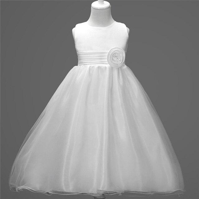 Fashion Sleeveless White Pink Lavender Toddler Flower Girl Dresses Kids Long  Summer Christening Kid Wedding Gown 85b7b4273