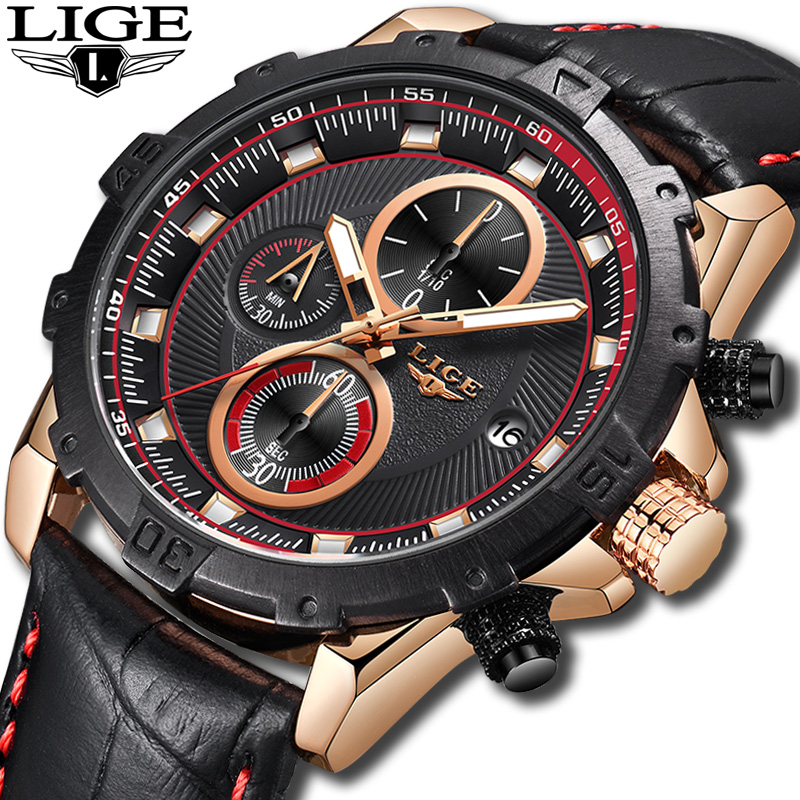2018 New Men Watches Top Brand Luxury LIGE Fashion Business Waterproof Quartz Watch Men Leather Sports Watch Relogio Masculino цена и фото