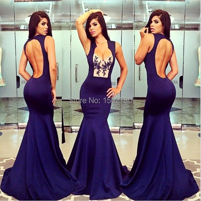 93f56c75344f Navy Blue Fitted Mermaid Prom Dress Open Back Low Cut Applique Floor Length Long  Evening Dress Sexy