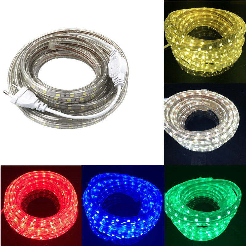 SMD 5050 AC220V <font><b>LED</b></font> Streifen Flexible Licht 60 <font><b>leds</b></font>/m Wasserdichte <font><b>Led</b></font>-Band <font><b>LED</b></font> Licht Mit Power Stecker 1 m/2 M/3 M/5 M/6 M/8 M/9 M/ 10 M/15 M/20 M image