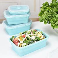 4 Pieces/Sets Silicone Lunch Box Portable Bowl Colorful Folding Food Container Lunchbox 350/500/800/1200ml Eco Friendly