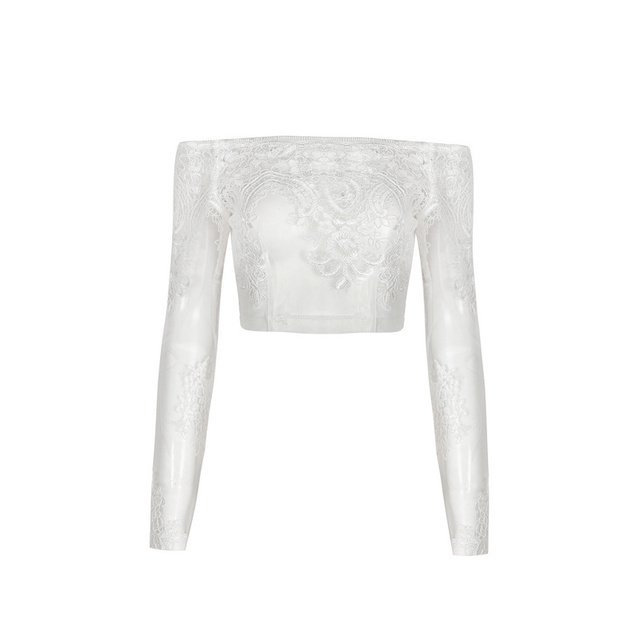 Free Shipping Crop Top 2017 New Arrival White Sexy Lace Mesh Top Long Sleeve for Women Clubwear