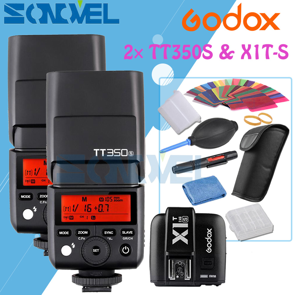 2x Godox Mini Speedlite TT350S Camera Flash TTL HSS GN36+X1T-S Transmitter for Sony Mirrorless DSLR Camera A7R A7S A6500 A63002x Godox Mini Speedlite TT350S Camera Flash TTL HSS GN36+X1T-S Transmitter for Sony Mirrorless DSLR Camera A7R A7S A6500 A6300