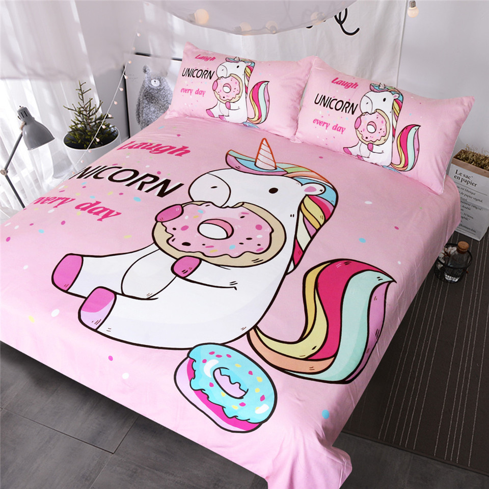 Donut Bettwäsche Us 27 84 45 Off Blessliving Cute Unicorn Kinder Bettwäsche Set Regenbogen Haar Bettbezug Bunte Rosa Blau Girly Tagesdecken Donuts Cartoon Bett Set