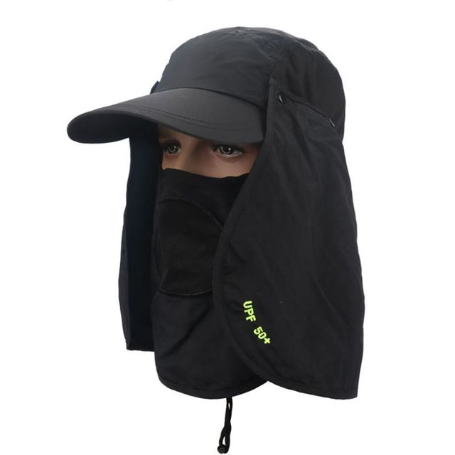 75bb6ca397d Summer Women Men Outdoor Sport Fishing Hiking Hat UV Protection Face Neck  Flap Sun Caps Solid