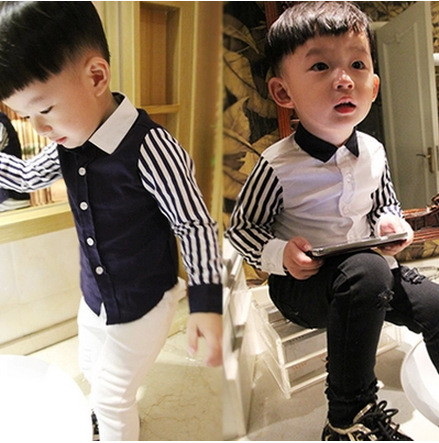 Boys Long Sleeve Plus Velvet Thick Shirt 2021 Autumn and Winter Children's Children's Striped Stitching Sleeve Shirt A8960