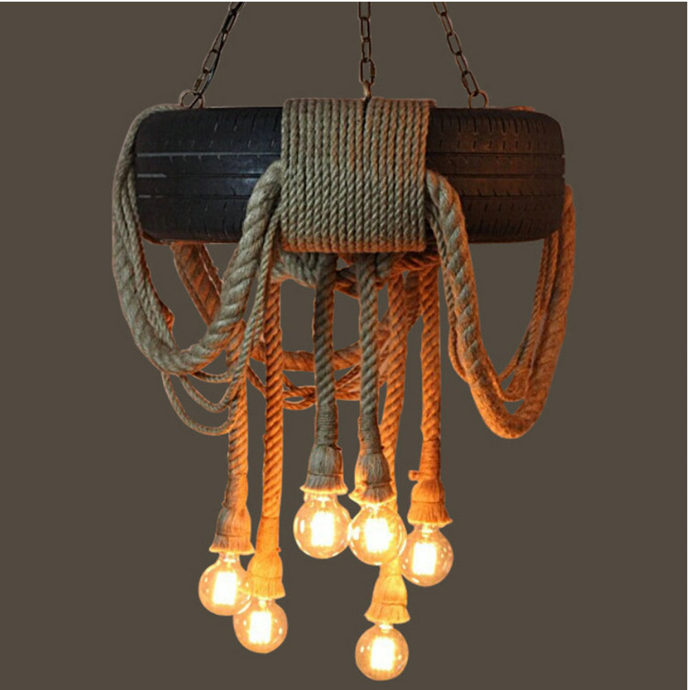 Loft style Industry 6 Heads Tire rope Vintage industrial pendant lighting lamp fixture for Bar Restaurant Coffee hall