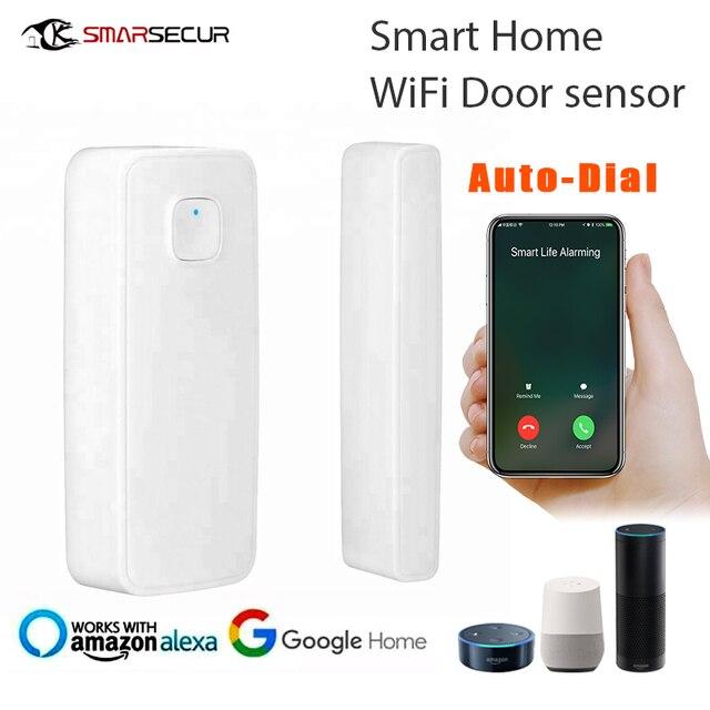 Wifi sensor de porta de entrada aberta alerta detector de segurança em casa controle remoto alexa casa do google