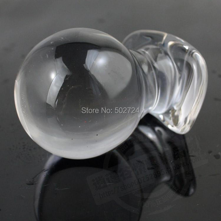 Light Purple Glass Anal Plug Anal Ball  Plunger Toy G Spot Stimulate Toy For Her anal