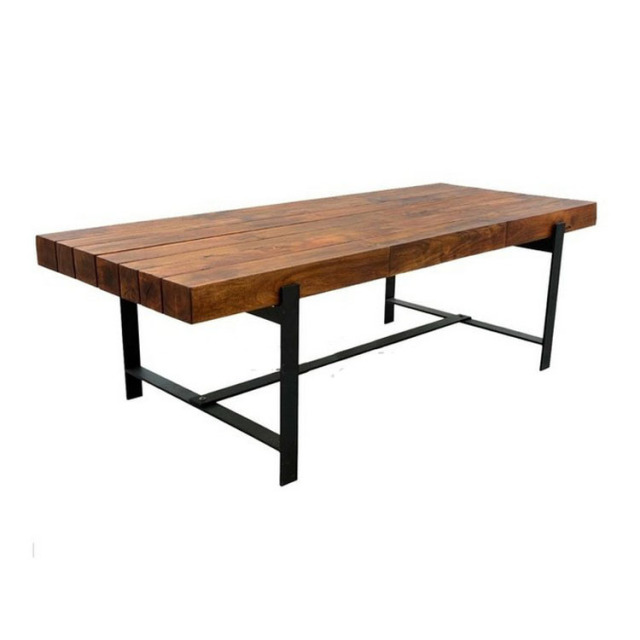 Excellent natural home of American furniture industry retro style wrought  iron dining table wood table desk