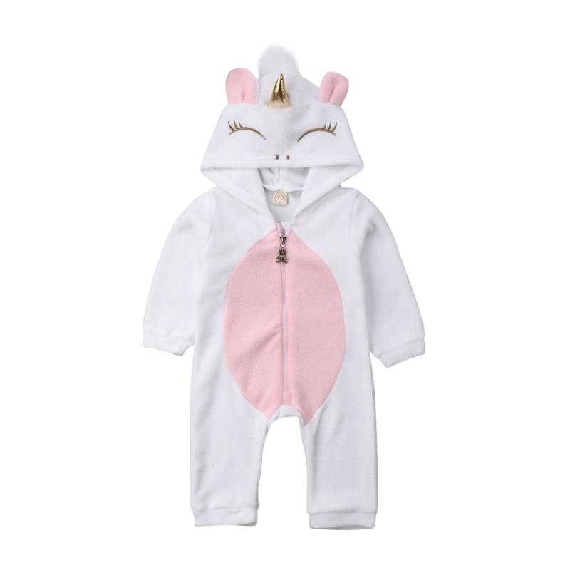 HTB1ilzSao rK1Rjy0Fcq6zEvVXak Emmababy Baby Girl 3D Unicorn Flannel Rompers Fashion ropa bebe girls Cartoon Hooded warm zipper Jumpsuit Newborn Romper Clothes
