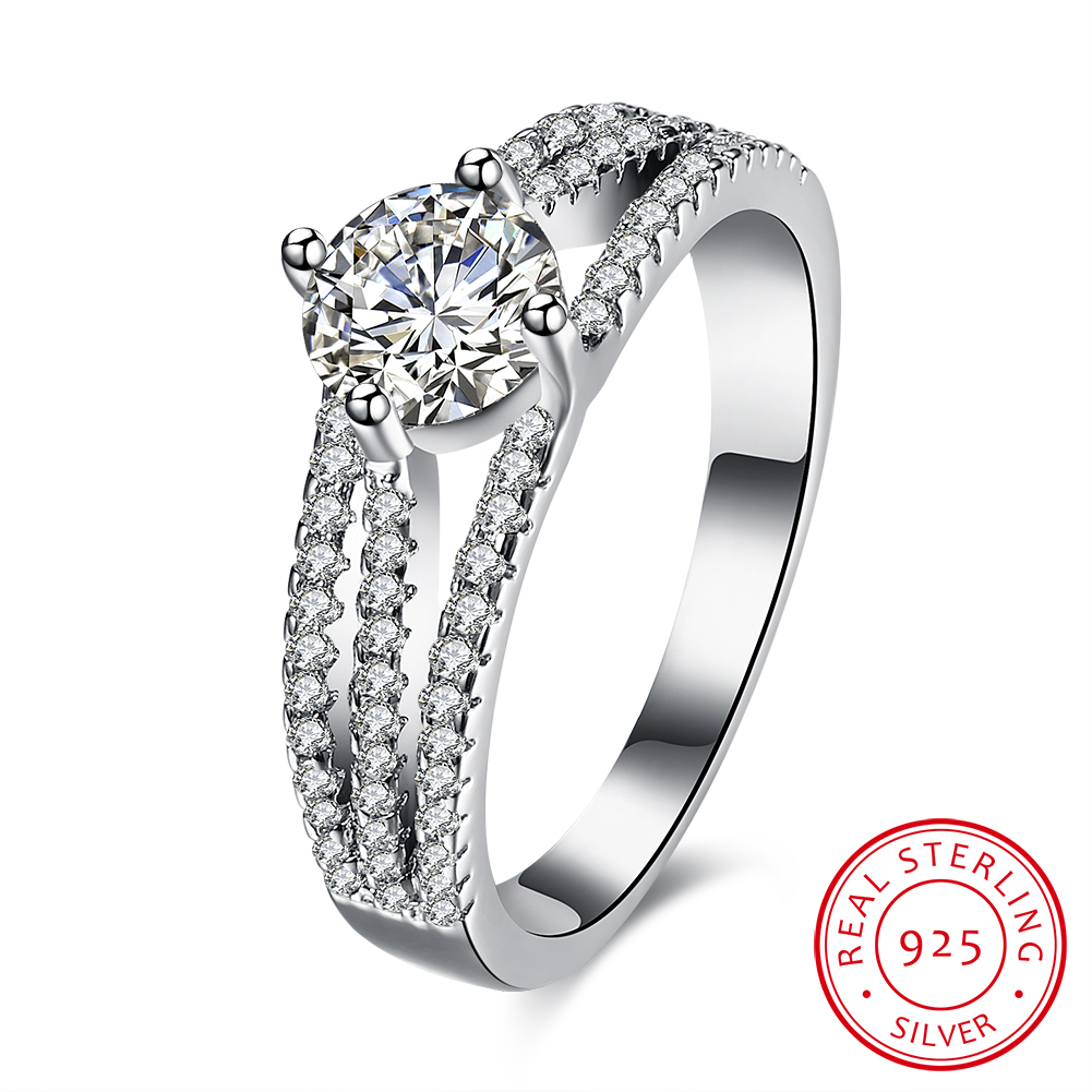 Trendy 925 Sterling Silver Promise Rings for Women Cubic Zirconia Crystal Engagement Rings font b Fashion