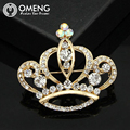 OMENG Fashion Imperial crown High Quality Gold Plated Rhinestone Brooch for Women Dress Rhinestone  OXZ002