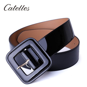 Image 4 - Catelles Wide Womens Belt Red Female Genuine leather Belt For Women Designers Brand High Quality Woman Waist Belts For Dresses