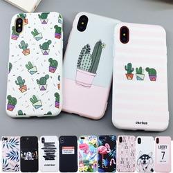 Карамельный цвет лиственным принтом чехол для iPhone X 6 6s 7 8 Plus XR XS Max кактусов Модный мягкий резиновый, силиконовый, из термопластичного полиур...