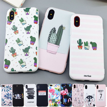 Snoep Kleur Leaf Print Telefoon Case voor iPhone X 6 6 s 7 8 Plus XR XS Max Cactus Planten fashion Soft TPU Rubber Silicon Cover Capa(China)
