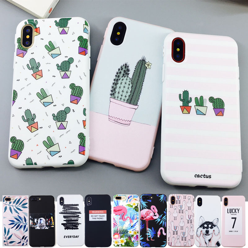 Galleria fotografica YiKELO Candy Color Art Leaf Print Phone Case for iPhone X 6 6s 7 8 Plus Cactus Plants Fashion Soft TPU Rubber Silicon Cover Capa