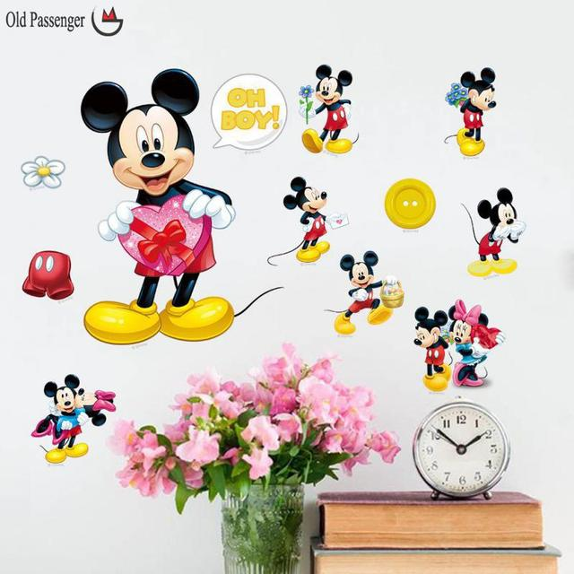 Cartoon Mickey Mouse Minnie Mouse Wall Stickers For Kids Rooms Children  Room Decoration Window